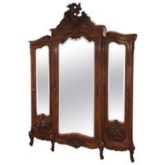 Mirrored Walnut Louis XV French Armoire