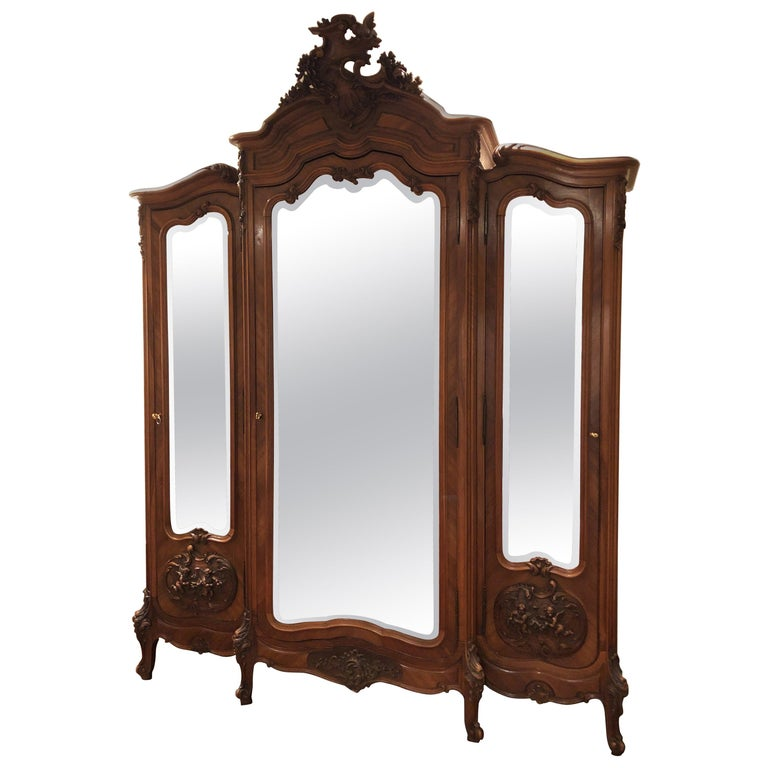 Mirrored Walnut Louis XV French Armoire For Sale