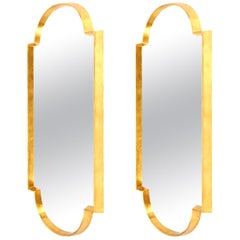 Mirrors, Pair of Tall Gold Leaf Mirrors, Designed by Area ID