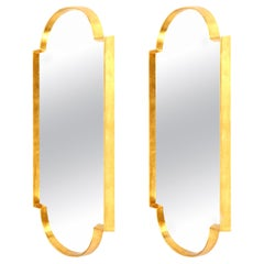 Mirrors, Pair of Tall Gold Leaf Mirrors, Designed by Area ID, Mid-Century Design