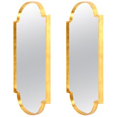 Mirrors, Pair of Tall Gold Leaf Mirrors, Designed by Area ID, Midcentury Design