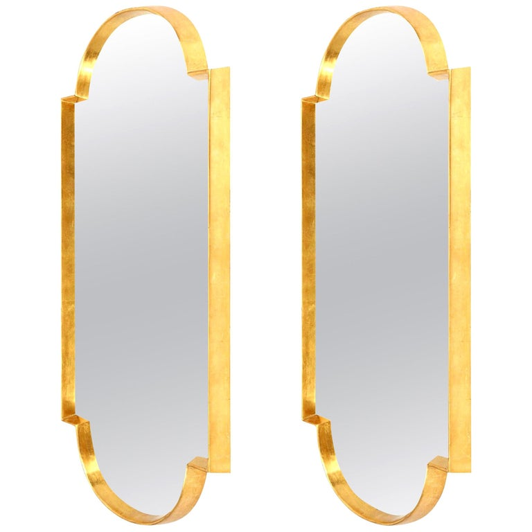 Mirrors, Pair of Tall Gold Leaf Mirrors, Designed by Area ID, Midcentury Design For Sale