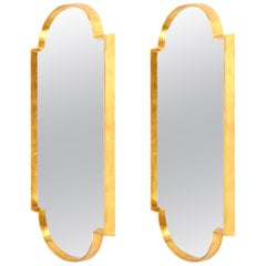 Mirrors, Pair of Tall Gold Leaf Mirrors, Handcrafted, Midcentury Style, New