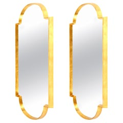 Mirrors, Pair of Tall Gold Leaf Mirrors, Mid-Century Style, Designed by Area ID