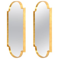 Mirrors, Pair of Tall Gold Leaf Mirrors, Midcentury Style, Antique Style