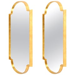 Mirrors, Pair of Tall Gold Leaf Mirrors, Midcentury Style