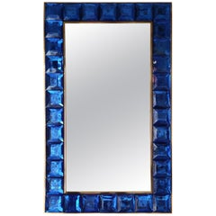 Mirrror in blue Murano Glass and Brass