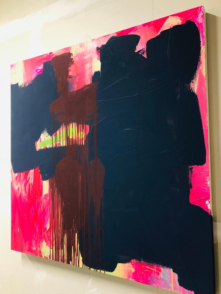 Abstract Acrylic Painting on Panel For Sale 7