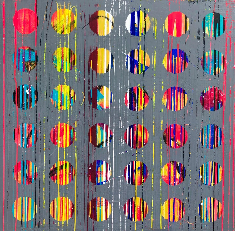 Abstract Acrylic Painting on Panel - Gray Abstract Painting by Mirtha Moreno