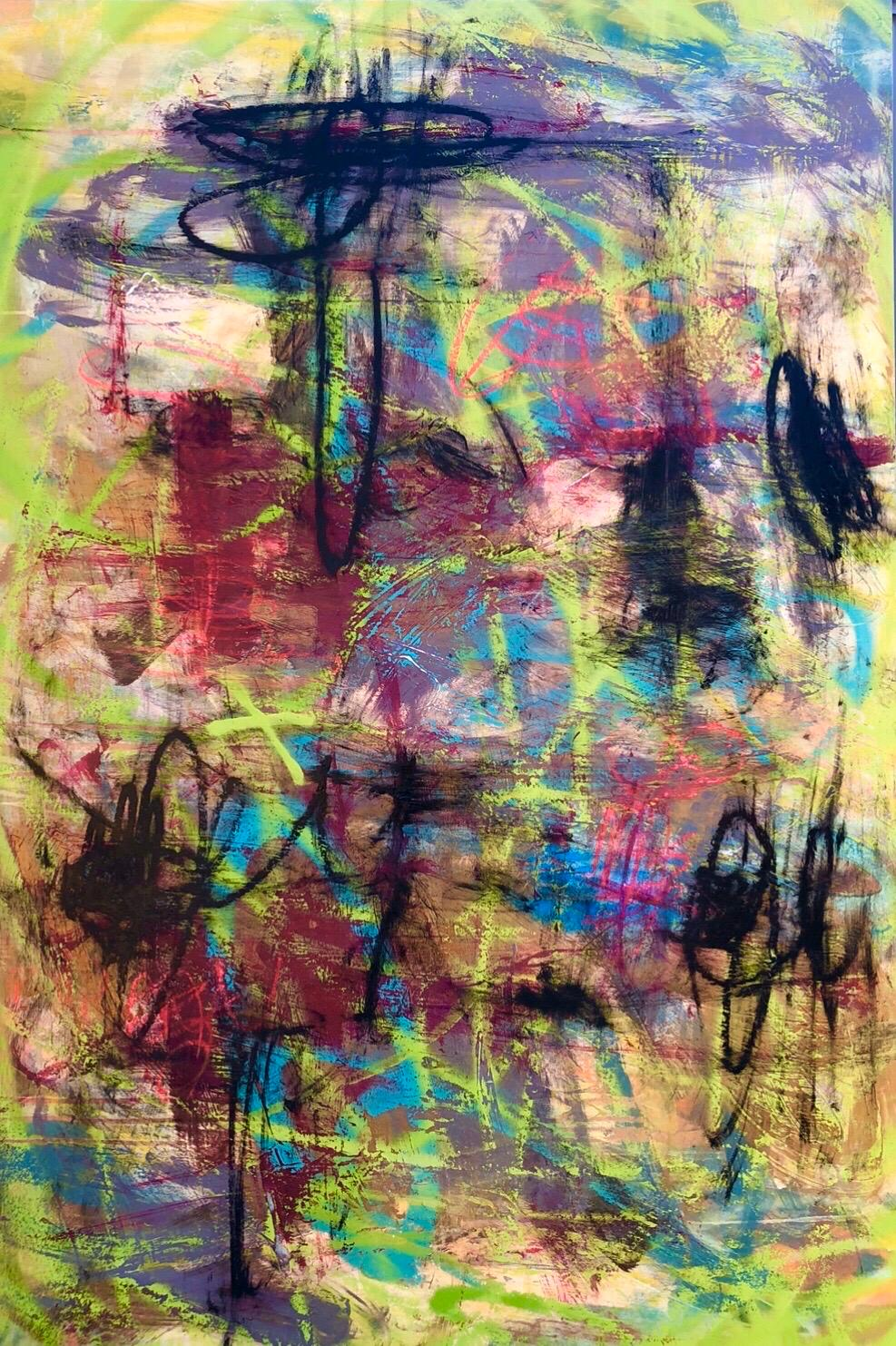Abstract Expressionist Painting on Panel