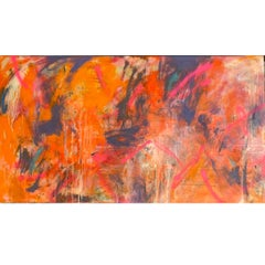 Large Abstract Expressionist Oil Painting on Panel 47 x 84