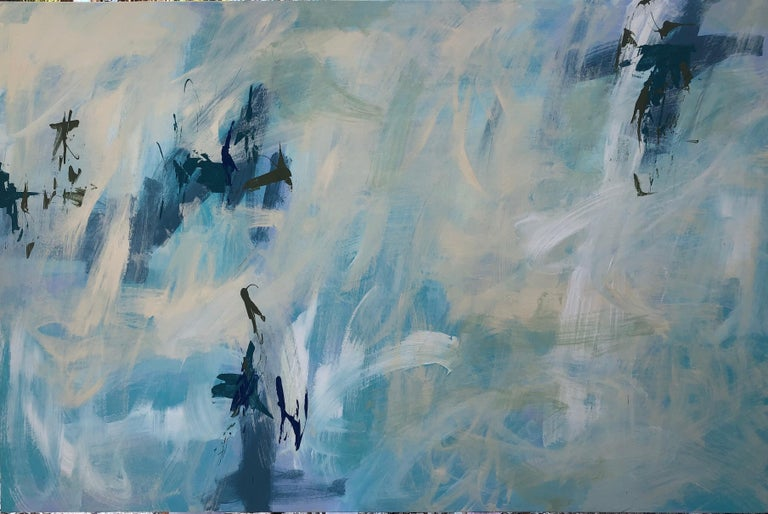 Mirtha Moreno Abstract Painting - Large Acrylic on Panel Painting