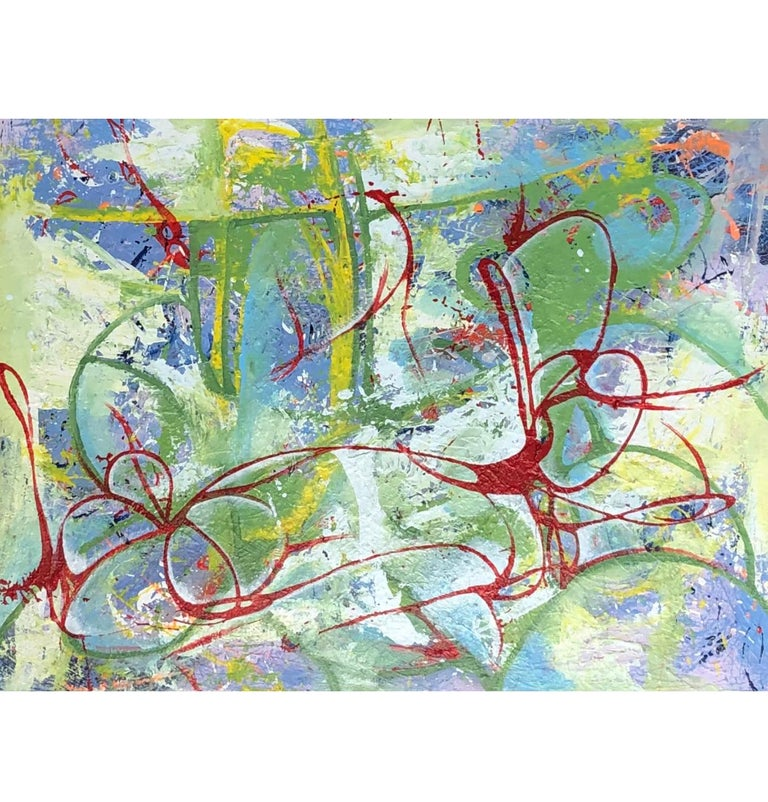 Oil on Canvas Titled: Red Ribbon - Painting by Mirtha Moreno