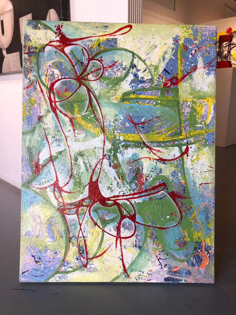 Oil on Canvas Titled: Red Ribbon - Abstract Expressionist Painting by Mirtha Moreno