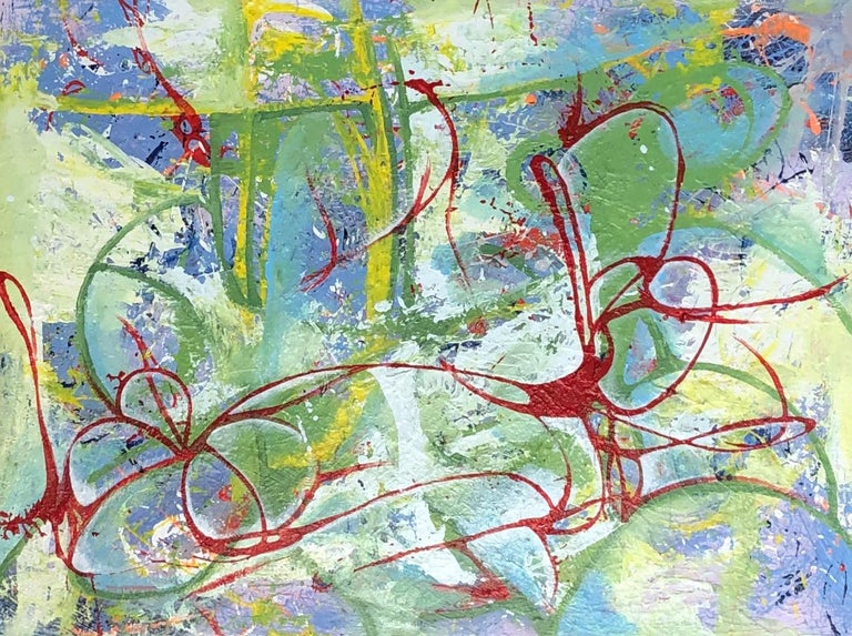 Mirtha Moreno Abstract Painting - Oil on Canvas Titled: Red Ribbon