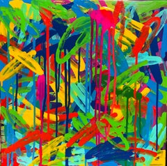 """Pigmented Ink on Panel Painting Titled: """"Fiesta"""""""