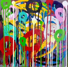 Pigmented Ink on Panel Painting Titled: Round About