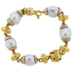 Misani Italy Gold Baroque Pearl Diamond Bracelet