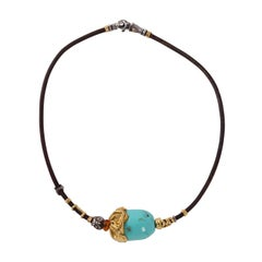 Misani Pageo 18 Karat Gold and Sterling Turquoise Amber Necklace