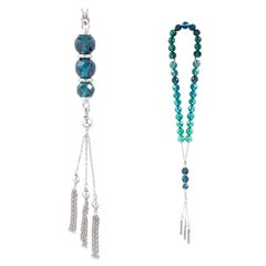 Misbaha 18 Karat White Gold and 33 Blue Green Tourmaline Facetted Beads