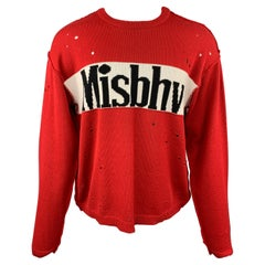 MISBHV Size S Red & Black Distressed Cotton / Acrylic Sweater
