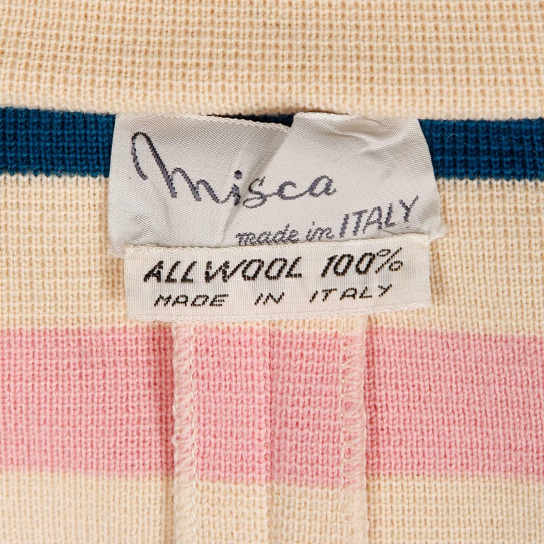 Beige Misca 1960s Vintage Italian Wool Candy Striped Knit Coat For Sale