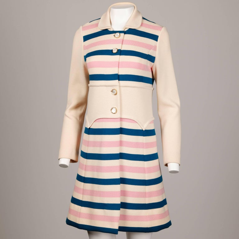 Misca 1960s Vintage Italian Wool Candy Striped Knit Coat In Excellent Condition For Sale In Sparks, NV