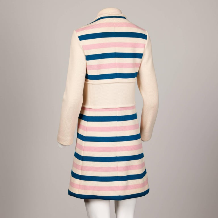 Misca 1960s Vintage Italian Wool Candy Striped Knit Coat For Sale 1