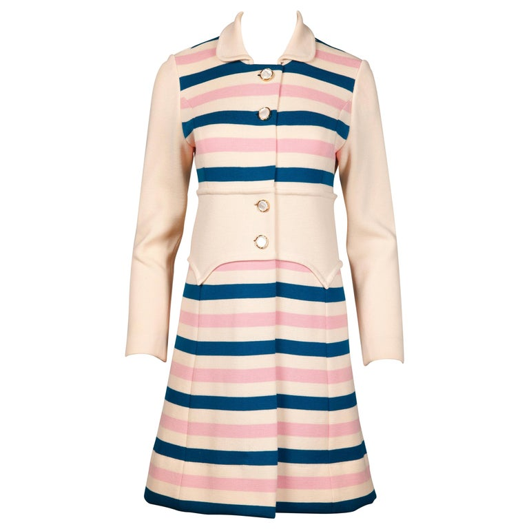 Misca 1960s Vintage Italian Wool Candy Striped Knit Coat For Sale