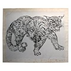 "Misch Kohn 1964 Etching ""Wildcat"""