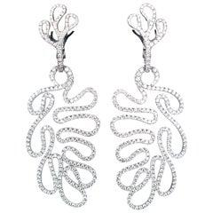 Miseno Leafy 18 Karat White Gold and Diamond Earrings
