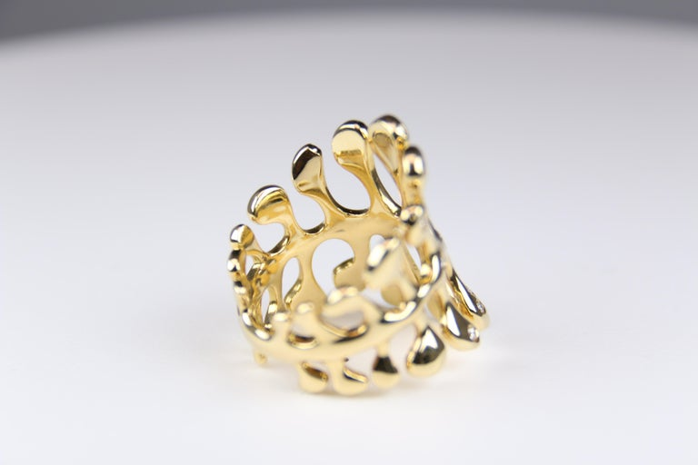 Modern Miseno Woman's Diamond Sea Leaf Ring 18 Karat Yellow Gold For Sale