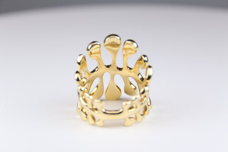 Round Cut Miseno Woman's Diamond Sea Leaf Ring 18 Karat Yellow Gold For Sale