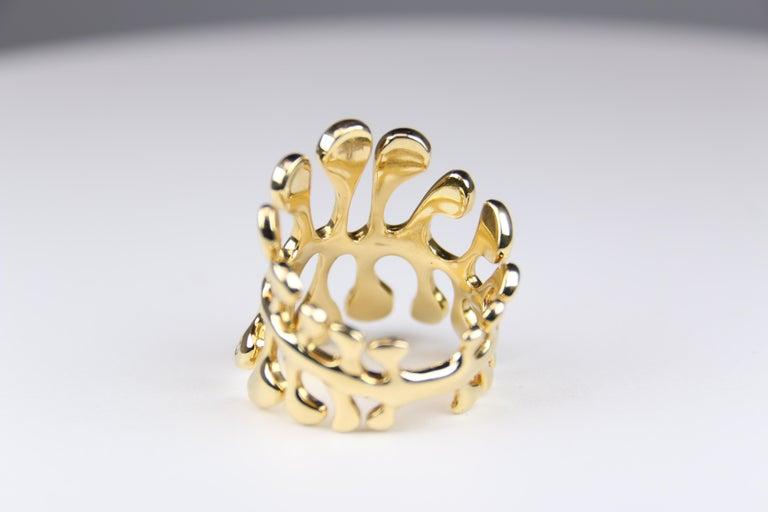 Miseno Woman's Diamond Sea Leaf Ring 18 Karat Yellow Gold In Good Condition For Sale In Dallas, TX