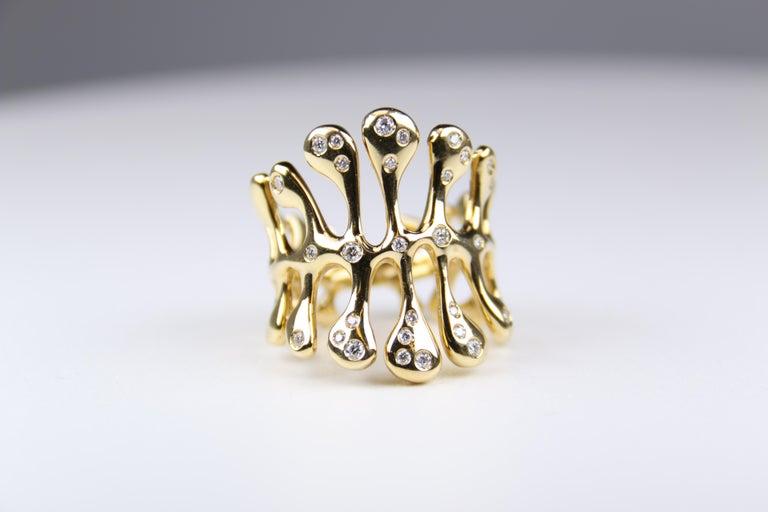 Women's Miseno Woman's Diamond Sea Leaf Ring 18 Karat Yellow Gold For Sale