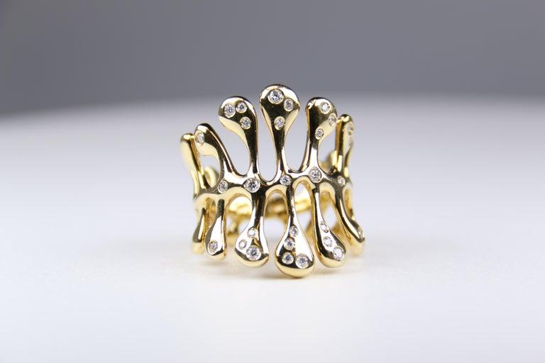 Miseno Woman's Diamond Sea Leaf Ring 18 Karat Yellow Gold For Sale 1