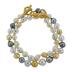 Mish New York Baroque Pearl Coral Bamboo Gold Necklace Set