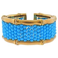 Mish New York Turquoise Diamond Gold Cuff Bracelet