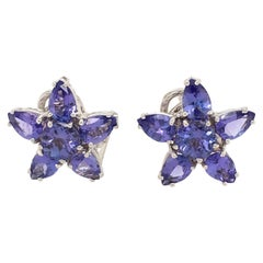 Mish Tanzanite and Gold Flower Earrings