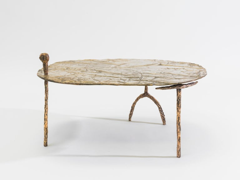 Misha Kahn [American, b. 1989] Coffee Table, 2015 Nickel-plated bronze 17.75 x 31.25 x 24.75 inches 45.1 x 79.4 x 62.9 cm  Misha Kahn was born in Duluth, Minnesota in 1989. He graduated from the Rhode Island School of Design in 2011 and was awarded