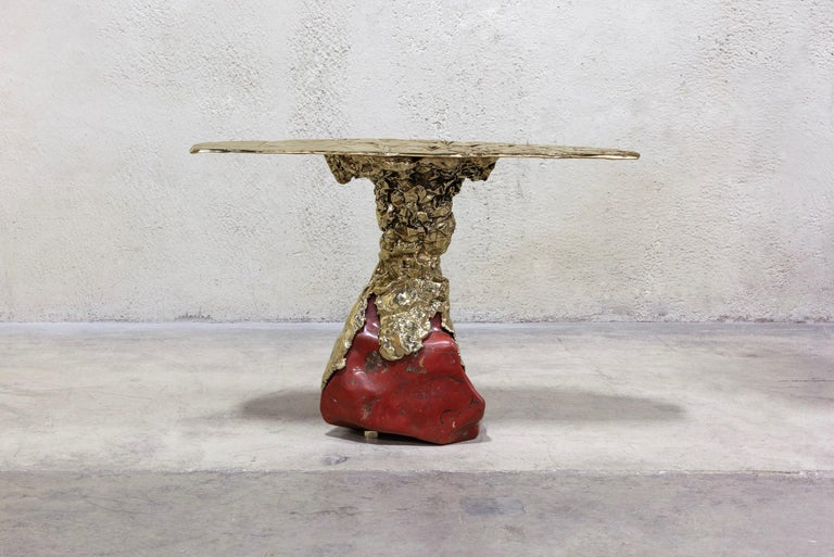 Misha Kahn [American, b. 1989] The Courage to Face Unpleasant Tasks, 2019 Red jasper, bronze Measures: 36 x 53.25 x 18.5 inches 91.5 x 135 x 47 cm Inscribed