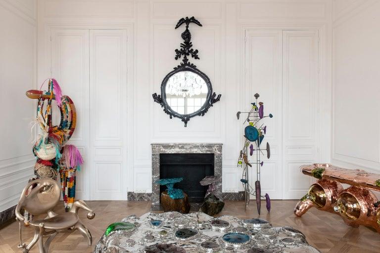 Powder-Coated Misha Kahn, Dark Purple Mirror, Aluminium, 2017 For Sale