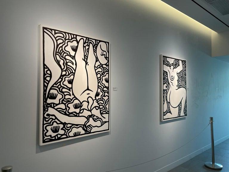 Artist: MISHA TYUTYUNIK Title: Efface The Nocturne Medium: Acrylic and ink  on canvas Size: 48 x 36 inches Description: A beautiful and unique black ink and white acrylic figurative painting. - Misha Tyutyunik is a Ukrainian-born, painter, muralist,