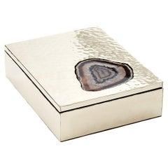 MISIONES Large Alpaca Silver & Agate Stone Box