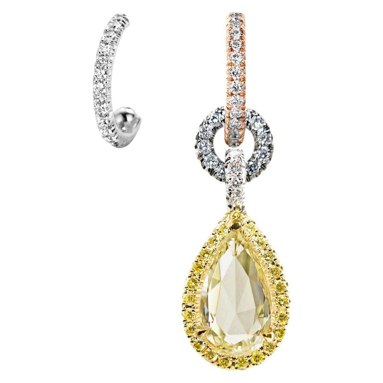 Mismatched 1.53 Carat Rose-Cut Yellow Blue White Diamond Charm Halo Earrings For Sale