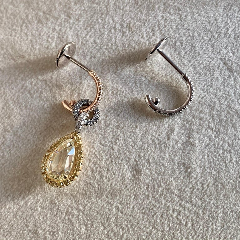 Mismatched 1.53 Carat Rose-Cut Yellow Blue White Diamond Charm Halo Earrings For Sale 6