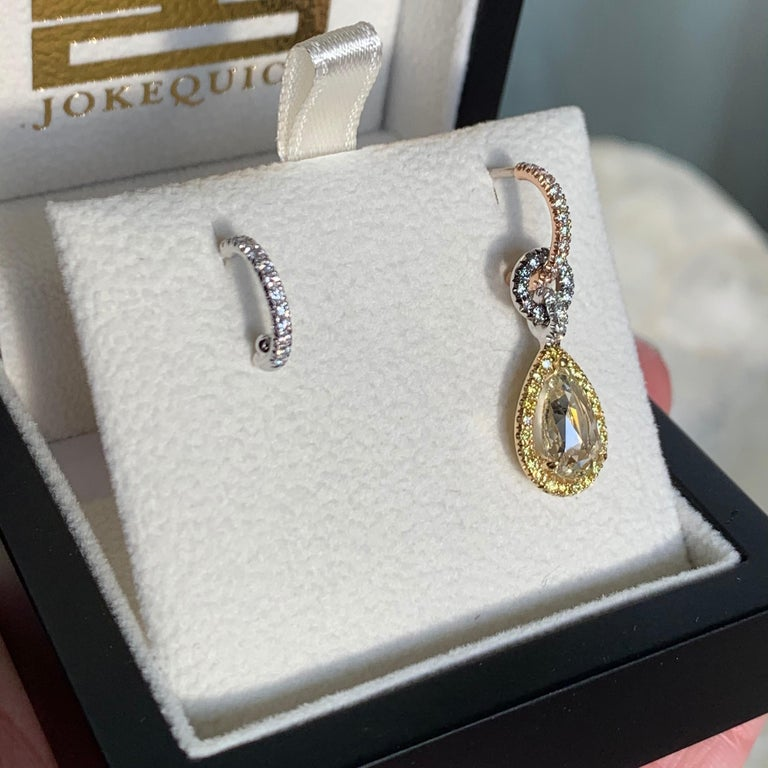Mismatched 1.53 Carat Rose-Cut Yellow Blue White Diamond Charm Halo Earrings In New Condition For Sale In Antwerp, BE