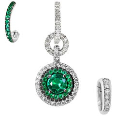Mismatched Colombian Emerald and Diamond Earrings & Enhancer Bail