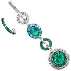 Mismatched Emerald, Black Opal, Paraïba Tourmaline and Diamond Earrings