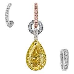 Mismatched GIA Cert 1.50 Ct Yellow Blue Diamond Charm Earrings & Enhancer Bail